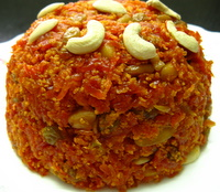 carrot halwa on a plate