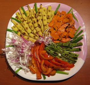 char grilled vegetables to be served as an appetizer recipe