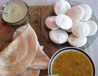 idli, dosa, sambar and chutney