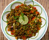 kala chana chaat or black chickpeas subzi
