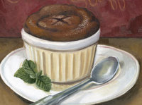 painted image of a hot chocolate souffle