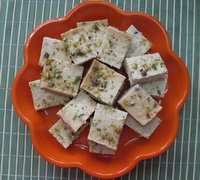 paneer barfi in a plate