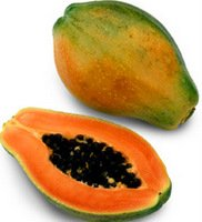 papaya sliced vertically in half